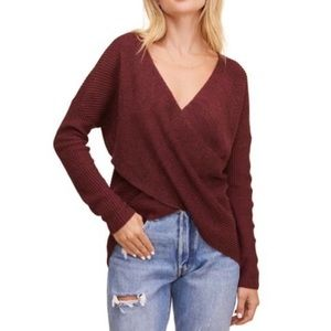ASTR the Label Wrap Front Sweater Burgundy Small